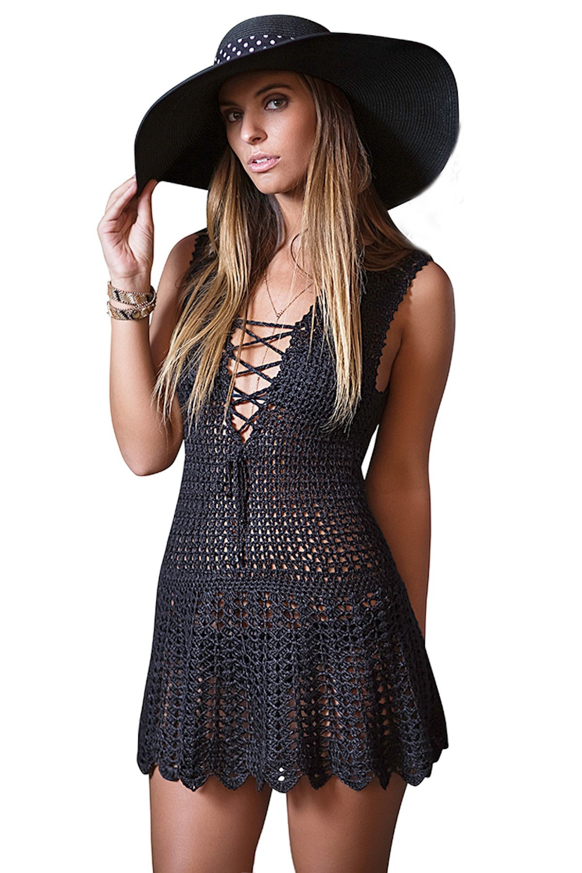 9556a85b9d Blanca Lace-Up Decollete Crochet Dress in Black