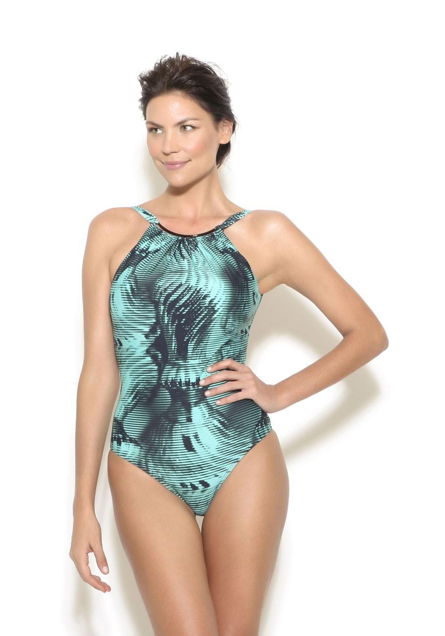 63967adad7fc9 High Neck One Piece Swimsuit in Print by Lenny Niemeyer