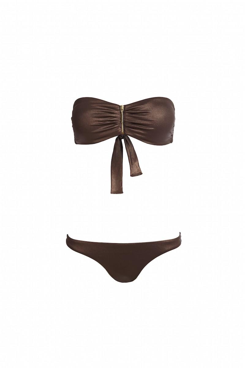 Sumatra Zipper Bandeau Bikini in Bronze