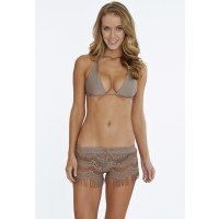 Hippie Lace Fringe Shorts in Putty