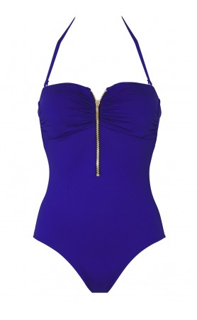 Summer Solids Strapless One Piece in Dazzling Blue
