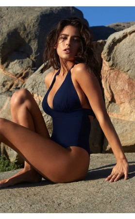 Mino Push-Up Halter Neck One-Piece Swimsuit in Navy