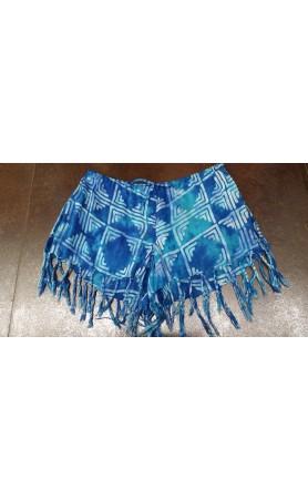 Playa Printed Fringe Shorts in Blue Tahiti
