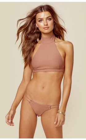 Roped Up High Neck Top & Skimpy Bottom in Cacao