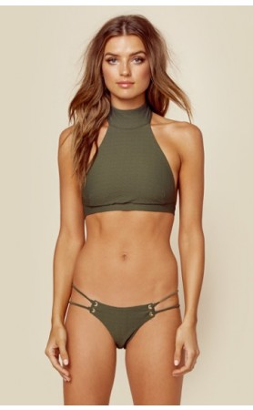 Roped Up High Neck Top & Skimpy Bottom in Fern