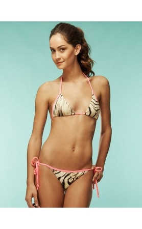 KIMINIS Neon Pink Zebra Tri Top and Stringy Bottom Bikini at Pesca Boutique