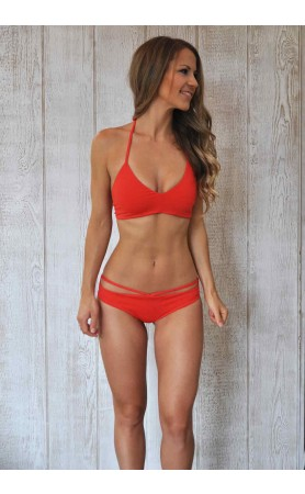 Wayfarer Halter Top in Hot Coral