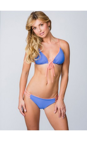 Ellie Reversible Racerback Triangle Top in Sedona Blue/Coral