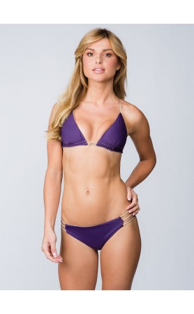 Jaclyn Double Bust Triangle Top in Aubergine/Nude