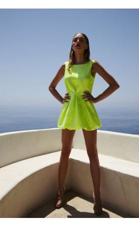 Lime Green Backless Short Dress
