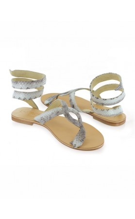 Snake Wrap Sandals in Natural