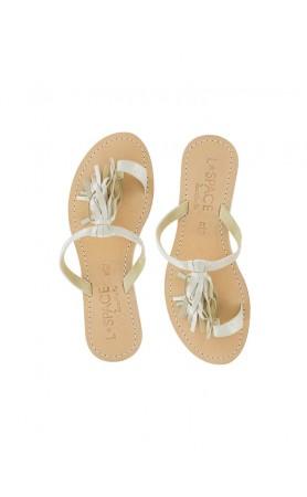 Fringe Sandals in Ivory