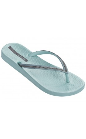 Ana Metallic Flip Flops in Green / Dark Grey