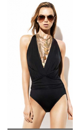 Draped Shirred Dip Back One Piece Swimsuit in Black