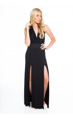 Cali Crochet Maxi Dress in Black