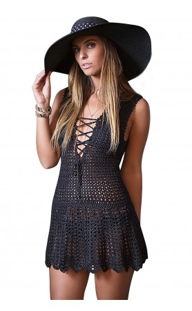Blanca Lace-Up Decollete Crochet Dress in Black