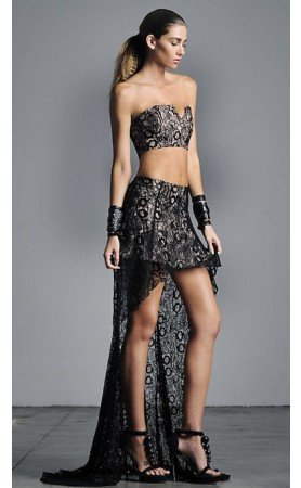 ALEXIS Riki High Low Lace Skirt in Black Lace