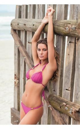 Molded Cup Sliding Halter Bikini in Fuchsia