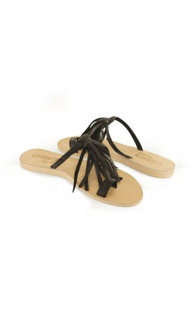 Fringe Sandals in Black