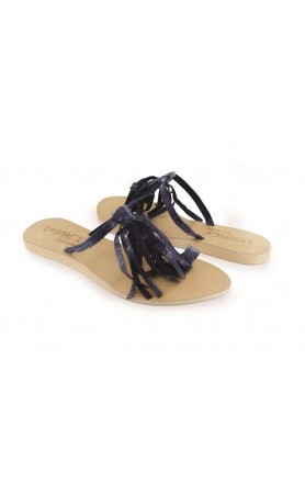Fringe Sandals in Navy