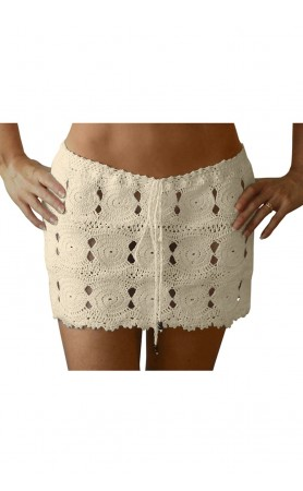 Coketta Beachwear Crochet Mini Skirt in Ivory