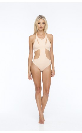 Bourbon Solid Seamless Slash Front One Piece in Buff