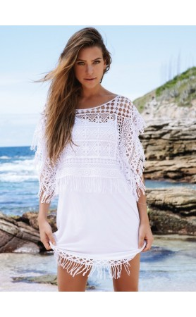 Sri Lanka white  Dress With Fringed Crop Top