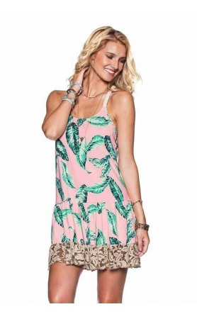 Leafy Water Color Short Dress Cover-Up