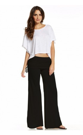 Elan Flair Clinch Waistband Pants in Black at Pesca Boutique