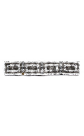 Elastic Pattern Belt in Rectangles White