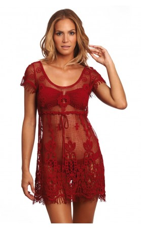 Garden Dress Kiss Sheer Lace Beach Cover-Up