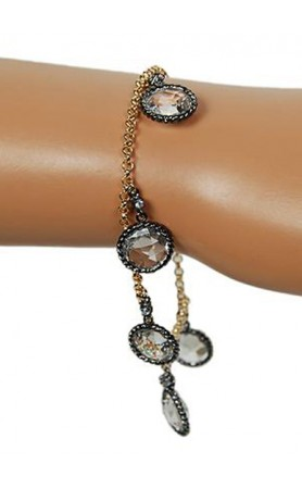 Funky Junque Chain Wrapped CZ Bracelet in Clear at Pesca Boutique