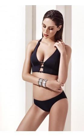 Glam Bustier in Two Piece Bikini in Black