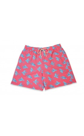 Classic Swim Trunk in Red Flying Fish