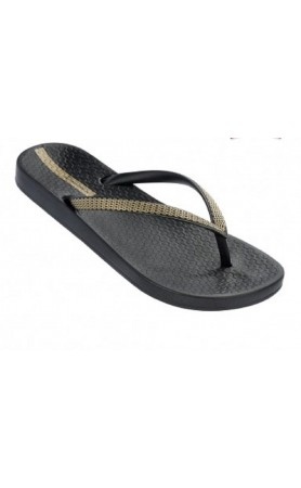 Ana Metallic Flip Flops in Black/Gold