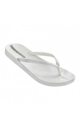 Ana Metallic Flip Flops in White/ Silver