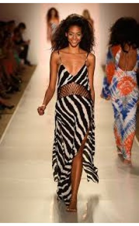 Ulima Crochet  Maxi Dress in Zebra