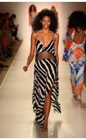 Ulima Crochet  Maxi Dress in Zebra