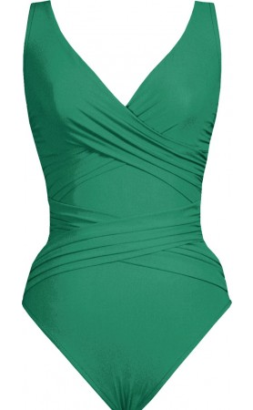 Basic Surplice Neck One Piece Swimsuit in Jade