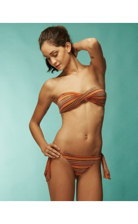 KIMINIS Striped Twisted Bandeau Top Bikini at Pesca Boutique