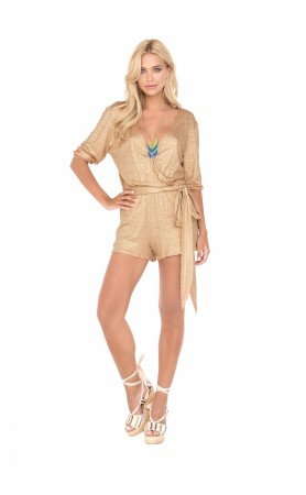 Spirit of a Fairy Wrap Front 3/4 Sleeve Romper in Gold