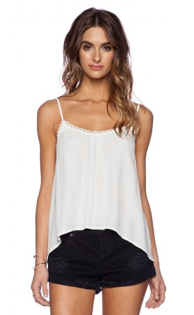 Trimmed Crepe Cami in White