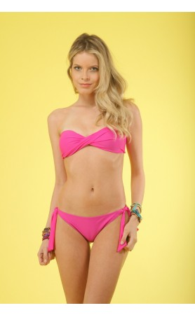 KIMINIS Solid Pink Twisted Bandeau Top Bikini at Pesca Boutique