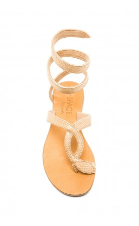 Snake Wrap Sandals in Taupe