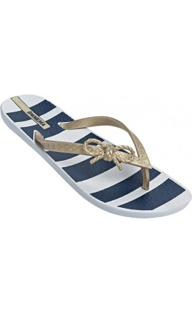 Maritime Flip Flop in White/Gold