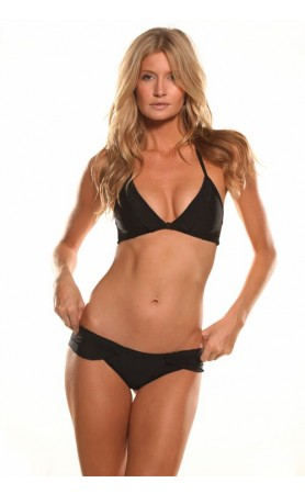 Signature Halter Top & Signature Boyshort Bottom Bikini in Black