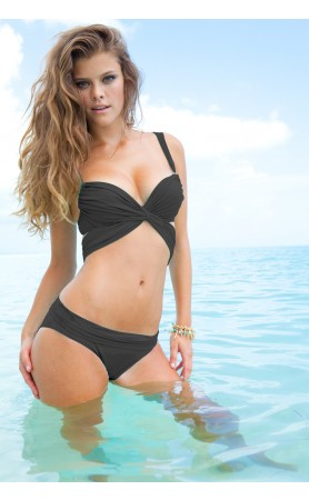 Mon Cheri Push-Up Top & Fold-Over Bottom in Black