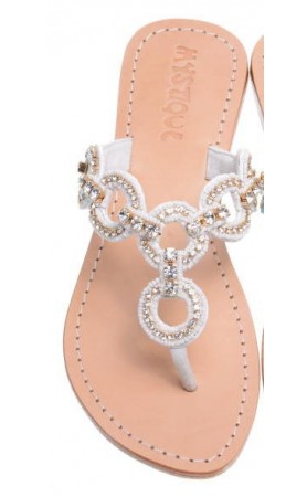 6127 White Crystal Sandals