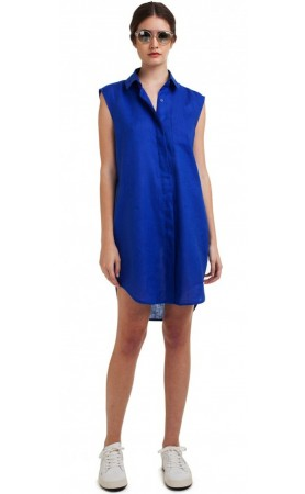 Basic Linen Dress in Blue Oceans