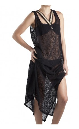 Black Long Lace Cover Up